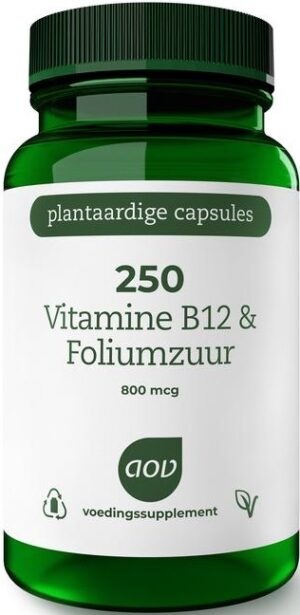 250 Vitamine B12 en Foliumzuur 60 capsules - AOV