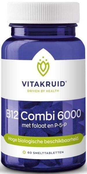 B12 Combi 6000 met folaat en P-5-P 60 tabletten Vitakruid