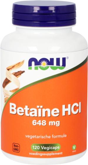 Betaïne HCl 648 mg 120 capsules - Now