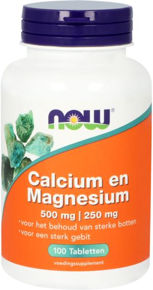Calcium en Magnesium 500 mg I 250 mg 100 tabletten - Now