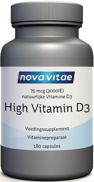 High Vitamine D3 75 mcg 3000 IU 180 capsules Nova Vitae