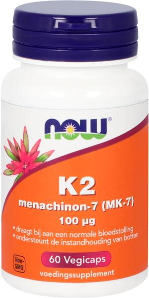 K2 Menachinon-7 (MK-7) 100 mcg 60 capsules - Now