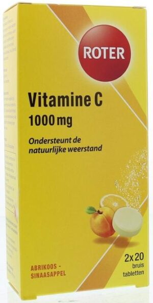 Vitamine C 1000 mg Abrikoos-Sinaasappel 2 x 20 bruistabletten - Roter