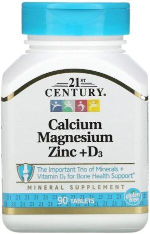 Calcium Magnesium Zink en D3 90 tabletten - 21st Century