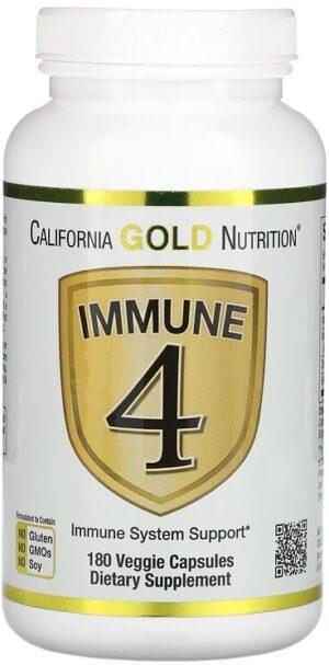 Immune 4 Immuun Systeem Ondersteuning 180 capsules - Californian Gold Nutrition